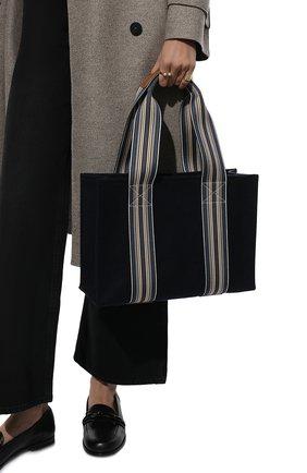 Женский сумка-шопер suitcase stripe LORO PIANA темно-синего цвета, арт. FAL3818   Фото 2