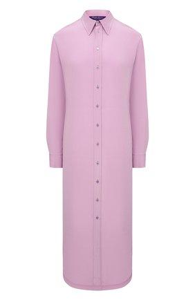 Женское шелковое платье RALPH LAUREN светло-розового цвета, арт. 290849502 | Фото 1 (Рукава: Длинные; Длина Ж (юбки, платья, шорты): Миди; Материал внешний: Шелк; Женское Кросс-КТ: Платье-одежда, платье-рубашка; Случай: Повседневный; Стили: Кэжуэл)