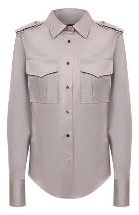 Женская хлопковая рубашка TOM FORD серого цвета, арт. CA3201-FAX838 | Фото 1 (Рукава: Длинные; Материал внешний: Хлопок; Длина (для топов): Стандартные; Женское Кросс-КТ: Рубашка-одежда; Стили: Кэжуэл; Принт: Без принта)