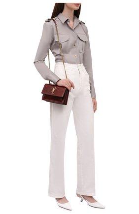 Женская хлопковая рубашка TOM FORD серого цвета, арт. CA3201-FAX838 | Фото 2 (Рукава: Длинные; Материал внешний: Хлопок; Длина (для топов): Стандартные; Женское Кросс-КТ: Рубашка-одежда; Стили: Кэжуэл; Принт: Без принта)