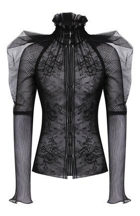 Женская блузка TOM FORD черного цвета, арт. TS1977-FAX343 | Фото 1 (Рукава: Длинные; Длина (для топов): Стандартные; Материал внешний: Синтетический материал; Материал подклада: Шелк; Женское Кросс-КТ: Блуза-одежда; Стили: Романтичный; Принт: Без принта)