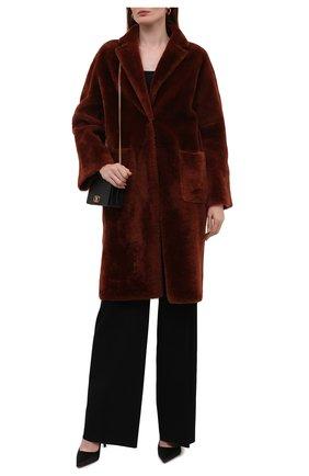 Женская двусторонняя дубленка KITON бордового цвета, арт. D52673X0468A   Фото 2 (Материал внешний: Натуральный мех; Рукава: Длинные; Длина (верхняя одежда): До колена; Стили: Кэжуэл)