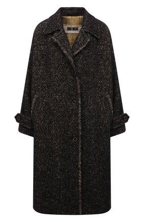 Женское шерстяное пальто UMA WANG темно-коричневого цвета, арт. W1 M UP8016 | Фото 1 (Материал внешний: Шерсть; Рукава: Длинные; Материал подклада: Купро, Вискоза; Длина (верхняя одежда): До колена; Стили: Кэжуэл; 1-2-бортные: Однобортные)