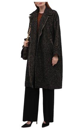 Женское шерстяное пальто UMA WANG темно-коричневого цвета, арт. W1 M UP8016 | Фото 2 (Материал внешний: Шерсть; Рукава: Длинные; Материал подклада: Купро, Вискоза; Длина (верхняя одежда): До колена; Стили: Кэжуэл; 1-2-бортные: Однобортные)