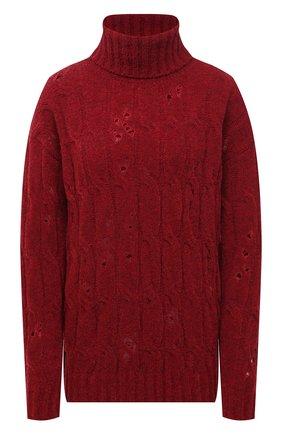 Женский шерстяной свитер UMA WANG бордового цвета, арт. W1 M UK7170 | Фото 1 (Рукава: Длинные; Материал внешний: Шерсть; Длина (для топов): Стандартные; Женское Кросс-КТ: Свитер-одежда; Стили: Кэжуэл)