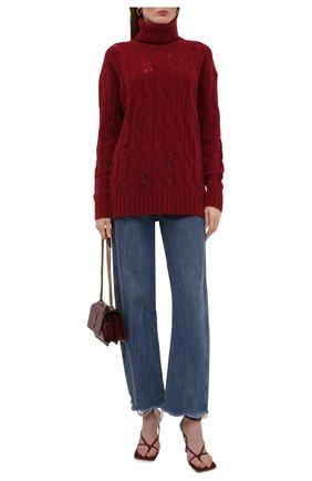 Женский шерстяной свитер UMA WANG бордового цвета, арт. W1 M UK7170 | Фото 2 (Рукава: Длинные; Материал внешний: Шерсть; Длина (для топов): Стандартные; Женское Кросс-КТ: Свитер-одежда; Стили: Кэжуэл)