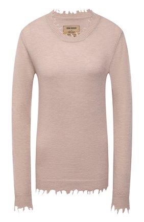 Женский кашемировый пуловер UMA WANG светло-бежевого цвета, арт. W1 M UK7154 | Фото 1 (Материал внешний: Кашемир, Шерсть; Женское Кросс-КТ: Пуловер-одежда; Стили: Кэжуэл; Рукава: Длинные; Длина (для топов): Стандартные)