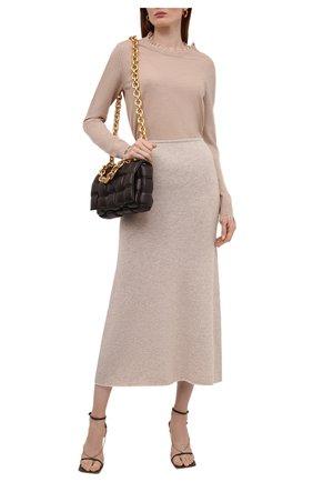 Женский кашемировый пуловер UMA WANG светло-бежевого цвета, арт. W1 M UK7154 | Фото 2 (Материал внешний: Кашемир, Шерсть; Женское Кросс-КТ: Пуловер-одежда; Стили: Кэжуэл; Рукава: Длинные; Длина (для топов): Стандартные)
