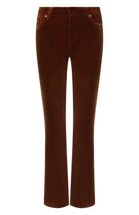 Женские велюровые брюки KITON коричневого цвета, арт. DJ52101X04T63   Фото 1 (Материал внешний: Хлопок; Длина (брюки, джинсы): Стандартные; Женское Кросс-КТ: Брюки-одежда; Силуэт Ж (брюки и джинсы): Расклешенные; Стили: Кэжуэл)