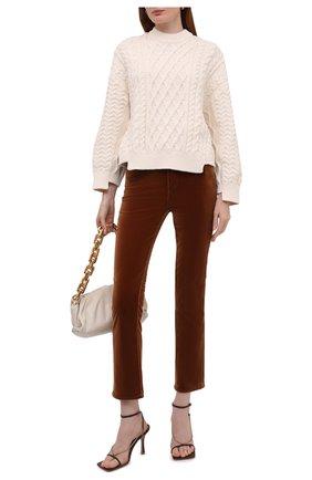 Женские велюровые брюки KITON коричневого цвета, арт. DJ52101X04T63   Фото 2 (Материал внешний: Хлопок; Длина (брюки, джинсы): Стандартные; Женское Кросс-КТ: Брюки-одежда; Силуэт Ж (брюки и джинсы): Расклешенные; Стили: Кэжуэл)