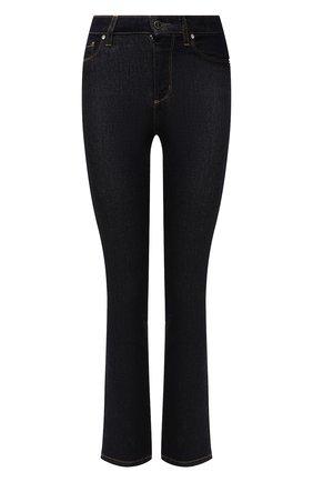 Женские джинсы KITON темно-синего цвета, арт. DJ52101/X0450A   Фото 1 (Длина (брюки, джинсы): Стандартные; Материал внешний: Хлопок; Кросс-КТ: Деним; Детали: Потертости; Силуэт Ж (брюки и джинсы): Расклешенные; Стили: Кэжуэл)