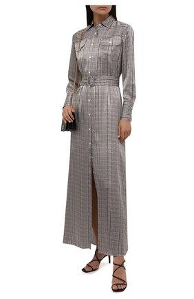 Женское шелковое платье KITON разноцветного цвета, арт. D52303K0587A   Фото 2 (Материал внешний: Шелк; Длина Ж (юбки, платья, шорты): Макси; Рукава: Длинные; Женское Кросс-КТ: Платье-одежда, платье-рубашка; Случай: Повседневный; Стили: Кэжуэл)
