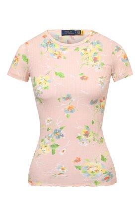 Женская хлопковая футболка POLO RALPH LAUREN светло-розового цвета, арт. 211843232 | Фото 1