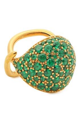 Женское кольцо BOTTEGA VENETA изумрудного цвета, арт. 665756/VX821 | Фото 1