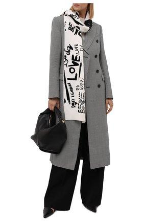 Женский шерстяной шарф DOLCE & GABBANA черно-белого цвета, арт. FXE28T/JBVK6   Фото 2