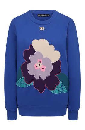 Женский хлопковый свитшот DOLCE & GABBANA синего цвета, арт. F9K48Z/G7BBR   Фото 1