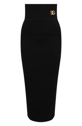 Женская юбка из вискозы DOLCE & GABBANA черного цвета, арт. F4B4IT/FUGKG | Фото 1 (Материал внешний: Вискоза; Длина Ж (юбки, платья, шорты): Миди; Женское Кросс-КТ: Юбка-одежда; Стили: Романтичный)