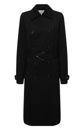 Женский шерстяной тренч BOTTEGA VENETA черного цвета, арт. 666052/V0B20 | Фото 1 (Материал внешний: Шерсть; Материал подклада: Хлопок; Рукава: Длинные; Длина (верхняя одежда): Длинные; Стили: Кэжуэл)