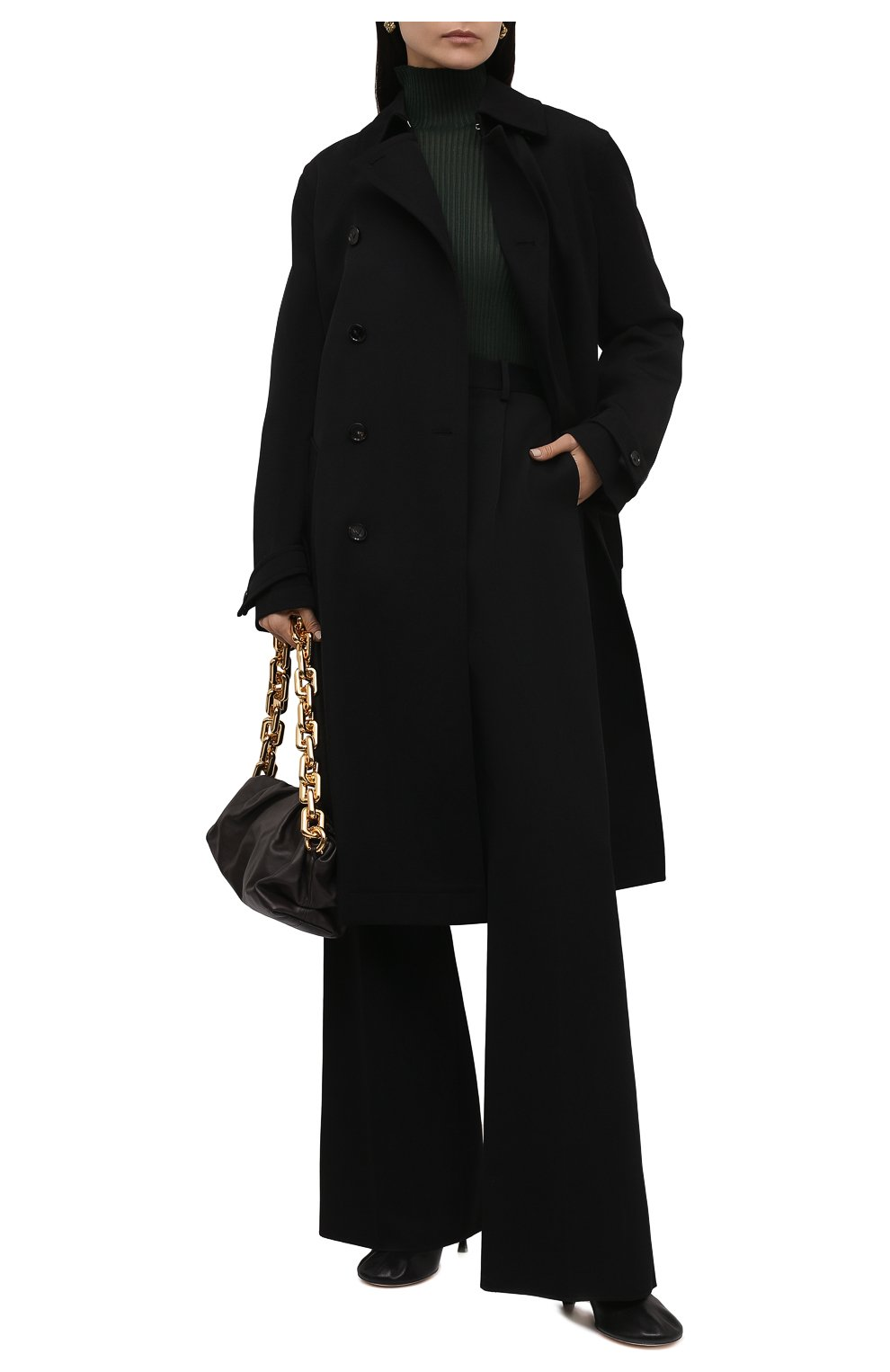 Женский шерстяной тренч BOTTEGA VENETA черного цвета, арт. 666052/V0B20 | Фото 2 (Материал внешний: Шерсть; Рукава: Длинные; Длина (верхняя одежда): Длинные; Материал подклада: Хлопок; Стили: Кэжуэл)