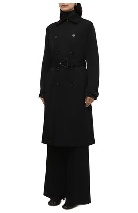 Женский шерстяной тренч BOTTEGA VENETA черного цвета, арт. 666052/V0B20 | Фото 3 (Материал внешний: Шерсть; Рукава: Длинные; Длина (верхняя одежда): Длинные; Материал подклада: Хлопок; Стили: Кэжуэл)