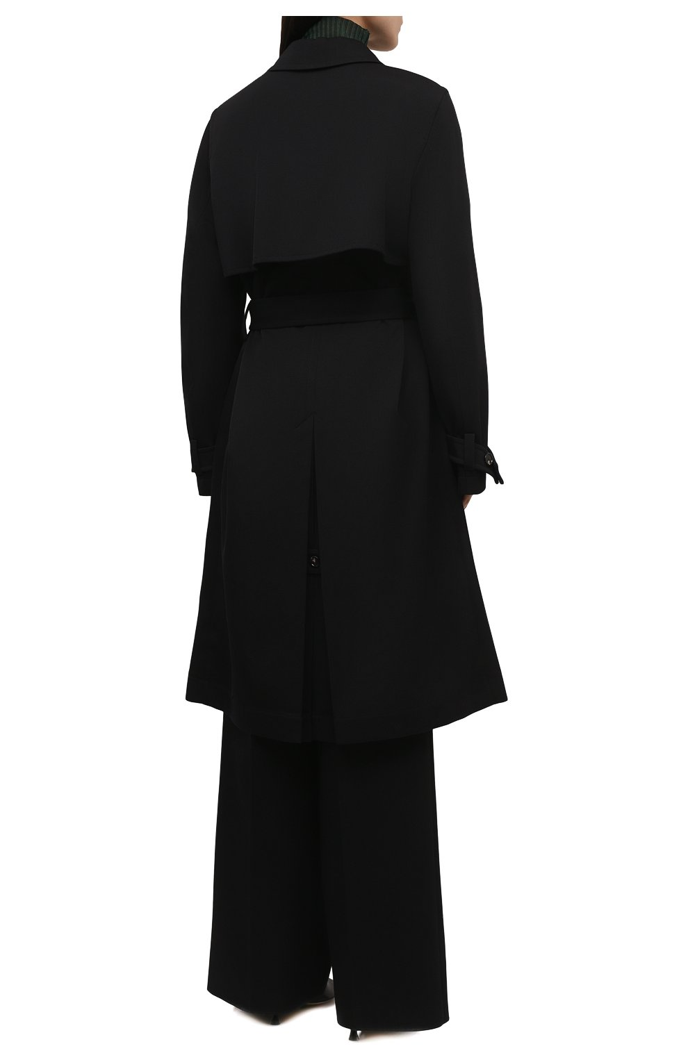 Женский шерстяной тренч BOTTEGA VENETA черного цвета, арт. 666052/V0B20 | Фото 4 (Материал внешний: Шерсть; Рукава: Длинные; Длина (верхняя одежда): Длинные; Материал подклада: Хлопок; Стили: Кэжуэл)