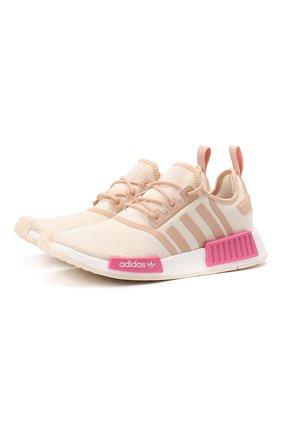 Женские комбинированные кроссовки nmd r1 ADIDAS ORIGINALS бежевого цвета, арт. GZ7998 | Фото 1