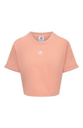 Женская хлопковая футболка ADIDAS ORIGINALS розового цвета, арт. H37883 | Фото 1