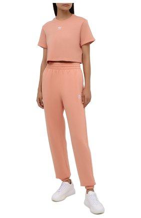 Женская хлопковая футболка ADIDAS ORIGINALS розового цвета, арт. H37883 | Фото 2