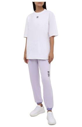 Женская хлопковая футболка ADIDAS ORIGINALS белого цвета, арт. H45578 | Фото 2