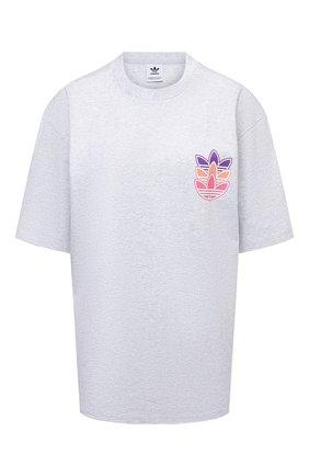 Женская хлопковая футболка ADIDAS ORIGINALS светло-серого цвета, арт. H22745 | Фото 1