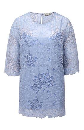 Женская блузка FENDI светло-голубого цвета, арт. FS7423 AF7E | Фото 1 (Материал внешний: Шелк; Длина (для топов): Удлиненные; Женское Кросс-КТ: Блуза-одежда; Принт: Без принта; Стили: Кэжуэл; Рукава: 3/4)