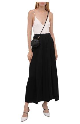 Женская шелковая юбка GIORGIO ARMANI черного цвета, арт. 1WHNN05I/T02MU   Фото 2