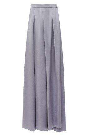 Женская шелковая юбка GIORGIO ARMANI голубого цвета, арт. 1WHNN05I/T02MU   Фото 1 (Материал внешний: Шелк; Длина Ж (юбки, платья, шорты): Макси; Женское Кросс-КТ: Юбка-одежда; Стили: Романтичный)