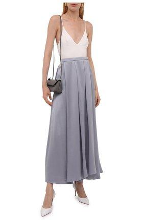 Женская шелковая юбка GIORGIO ARMANI голубого цвета, арт. 1WHNN05I/T02MU   Фото 2 (Материал внешний: Шелк; Длина Ж (юбки, платья, шорты): Макси; Женское Кросс-КТ: Юбка-одежда; Стили: Романтичный)