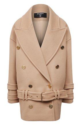 Женское шерстяное пальто BALMAIN бежевого цвета, арт. WF1UA005/W006   Фото 1