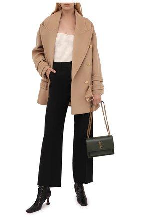 Женское шерстяное пальто BALMAIN бежевого цвета, арт. WF1UA005/W006   Фото 2
