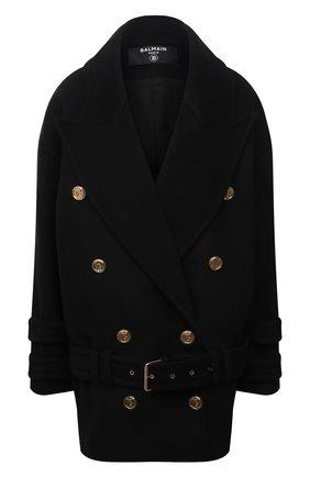 Женское шерстяное пальто BALMAIN черного цвета, арт. WF1UA005/W006   Фото 1 (Рукава: Длинные; Длина (верхняя одежда): До середины бедра; Материал подклада: Вискоза; Материал внешний: Шерсть; 1-2-бортные: Двубортные; Стили: Кэжуэл)