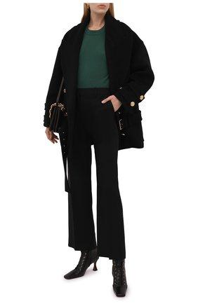 Женское шерстяное пальто BALMAIN черного цвета, арт. WF1UA005/W006   Фото 2 (Рукава: Длинные; Длина (верхняя одежда): До середины бедра; Материал подклада: Вискоза; Материал внешний: Шерсть; 1-2-бортные: Двубортные; Стили: Кэжуэл)