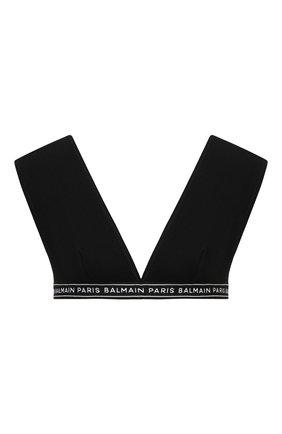 Женский бюстгальтер с мягкой чашкой BALMAIN черного цвета, арт. BPR135140   Фото 1 (Материал внешний: Хлопок; Женское Кросс-КТ: Бюстгальтеры)
