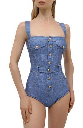 Женский слитный купальник BALMAIN голубого цвета, арт. BKBG40560   Фото 2 (Длина Ж (юбки, платья, шорты): Мини; Материал внешний: Синтетический материал; Женское Кросс-КТ: Слитные купальники)