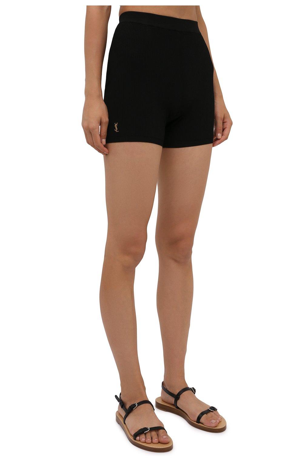 Женские шорты из вискозы SAINT LAURENT черного цвета, арт. 660275/Y75BE | Фото 3
