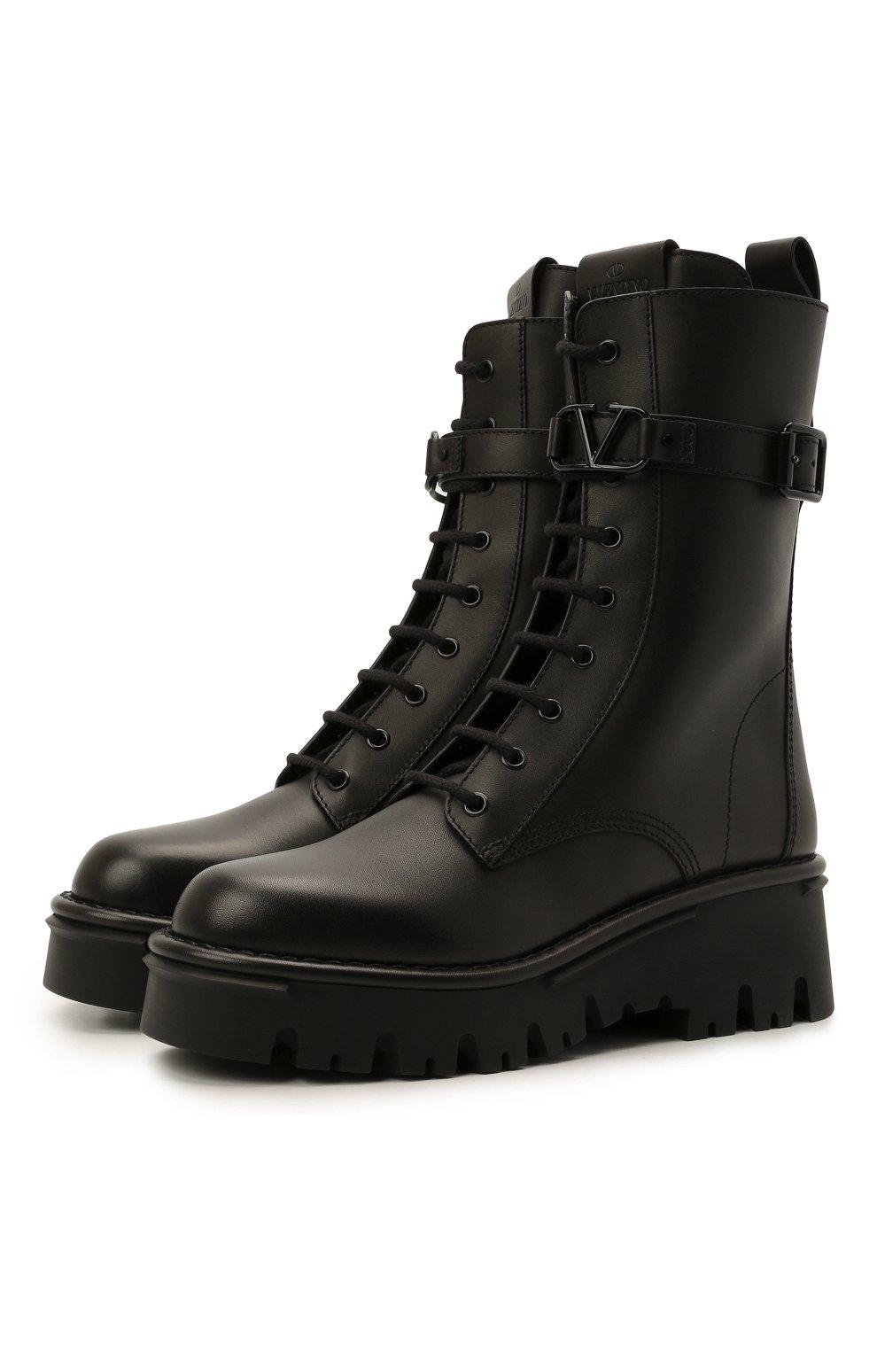 Женские кожаные ботинки campsite VALENTINO черного цвета, арт. WW2S0AQ8/TDD   Фото 1 (Подошва: Платформа; Материал внутренний: Натуральная кожа; Каблук высота: Средний; Женское Кросс-КТ: Байкеры-ботинки)