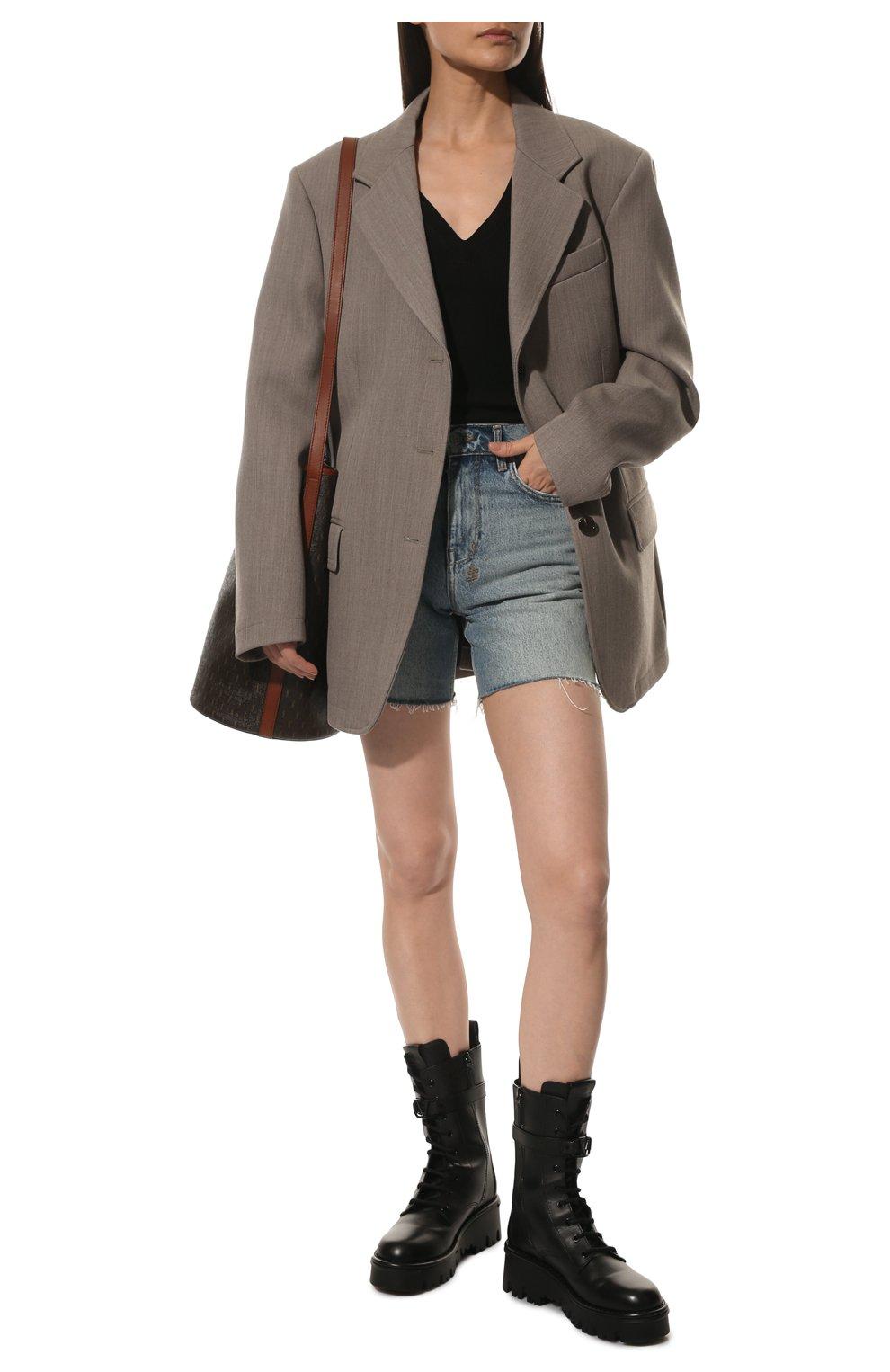 Женские кожаные ботинки campsite VALENTINO черного цвета, арт. WW2S0AQ8/TDD   Фото 2 (Подошва: Платформа; Материал внутренний: Натуральная кожа; Каблук высота: Средний; Женское Кросс-КТ: Байкеры-ботинки)