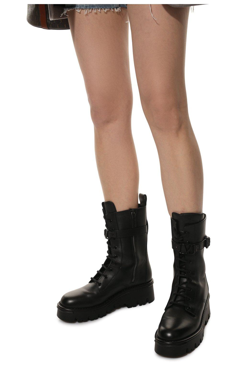 Женские кожаные ботинки campsite VALENTINO черного цвета, арт. WW2S0AQ8/TDD   Фото 3 (Подошва: Платформа; Материал внутренний: Натуральная кожа; Каблук высота: Средний; Женское Кросс-КТ: Байкеры-ботинки)