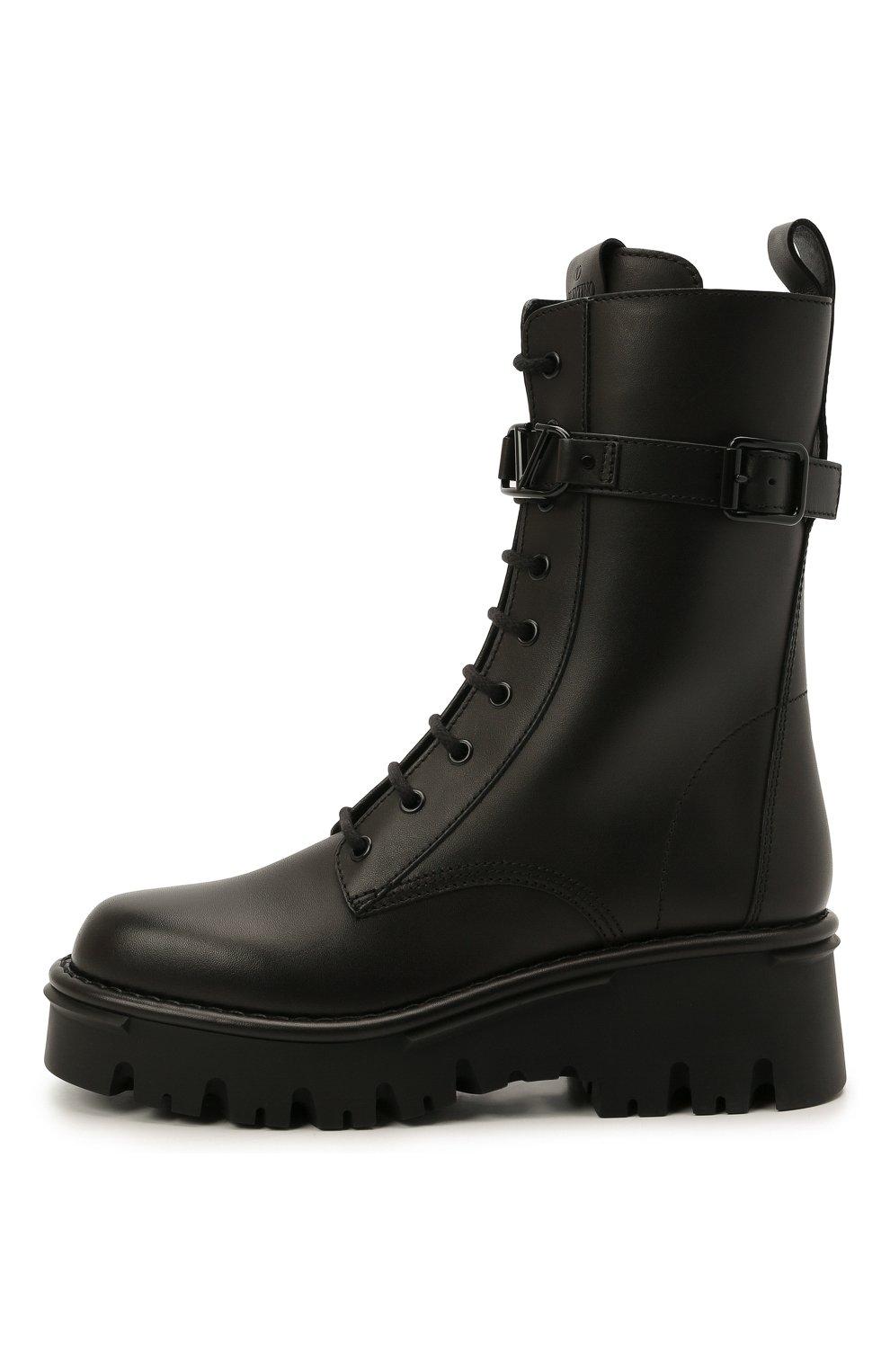 Женские кожаные ботинки campsite VALENTINO черного цвета, арт. WW2S0AQ8/TDD   Фото 4 (Подошва: Платформа; Материал внутренний: Натуральная кожа; Каблук высота: Средний; Женское Кросс-КТ: Байкеры-ботинки)