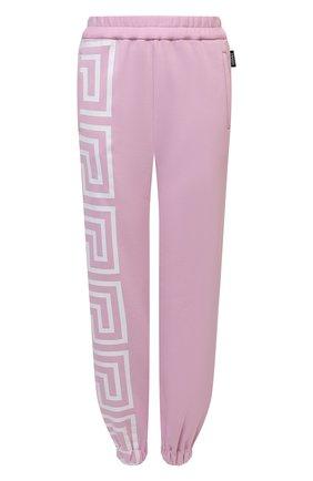 Женские хлопковые джоггеры VERSACE розового цвета, арт. 1001053/1A01174   Фото 1 (Длина (брюки, джинсы): Стандартные; Материал внешний: Хлопок; Женское Кросс-КТ: Джоггеры - брюки, Брюки-спорт; Силуэт Ж (брюки и джинсы): Джоггеры; Стили: Спорт-шик)