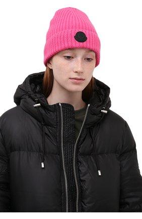 Женская шапка из шерсти и кашемира MONCLER розового цвета, арт. G2-093-3B000-01-M1130 | Фото 2 (Материал: Кашемир, Шерсть)