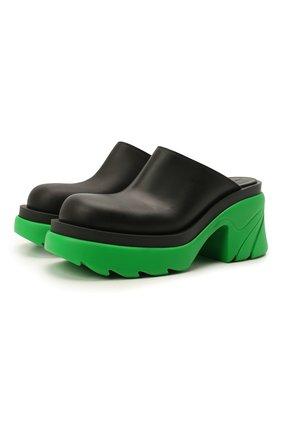 Женские кожаные сабо flash BOTTEGA VENETA зеленого цвета, арт. 668525/VBS50   Фото 1 (Каблук высота: Высокий; Материал внутренний: Натуральная кожа; Подошва: Платформа; Каблук тип: Устойчивый)