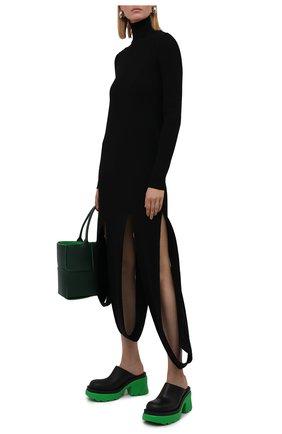 Женские кожаные сабо flash BOTTEGA VENETA зеленого цвета, арт. 668525/VBS50   Фото 2 (Каблук высота: Высокий; Материал внутренний: Натуральная кожа; Подошва: Платформа; Каблук тип: Устойчивый)