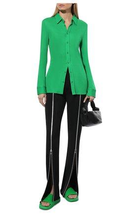 Женские шлепанцы bv slider BOTTEGA VENETA зеленого цвета, арт. 640051/V00P0 | Фото 2 (Материал внешний: Экокожа; Подошва: Платформа)